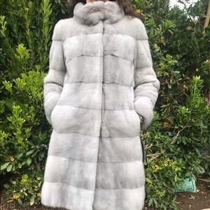 100% Real Fur Mink Silver Coat Women's